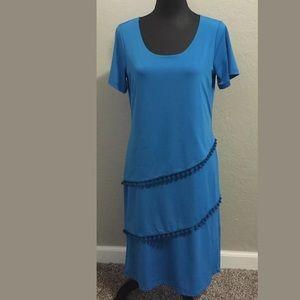 Sunny Leigh medium blue short sleeve dress fringe
