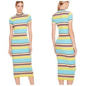 NWT - DKNY striped mock neck dress