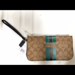 Coach Wristlet Large Varsity Teal Blue Stripe