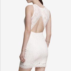 New express lace open back mini dress