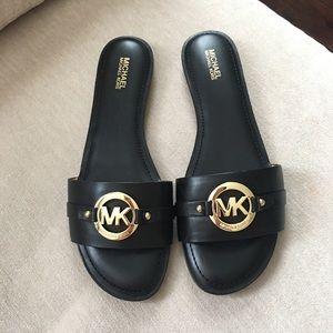 MICHAEL Michael Kors Shoes - MICHAEL KORS gold logo slide sandals
