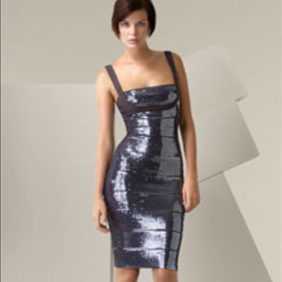 3ce19bd4a52102 Herve Leger Dresses | Hp Silver Grey Sequin Bandage Dress | Poshmark