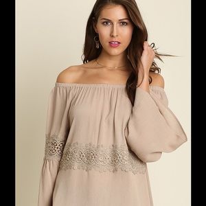 Taupe off shoulder tunic