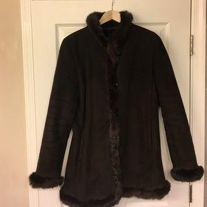 Sz M- Dana Buchman Brown Shearling Coat