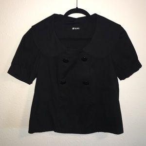 Puffy sleeve Peter Pan Collar black top