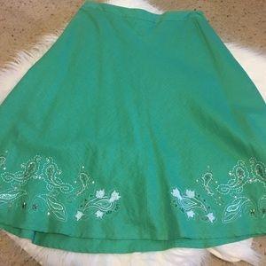 Apostrophe Dresses & Skirts - Apostrophe green linen blend skirt sz 10