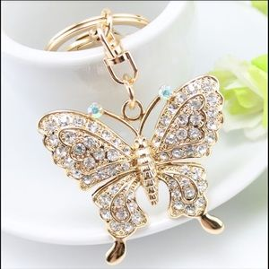 Elegant Jeweled Butterfly Purse Charm