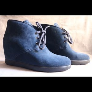 Prada Linea Rossa Shoes - Prada Blue Suede Wedge Boot Size 40