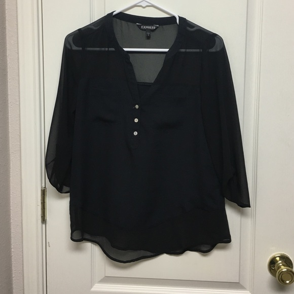Express Tops - Black V neck button