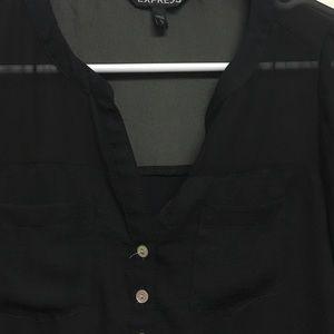 Express Tops - Black V neck button