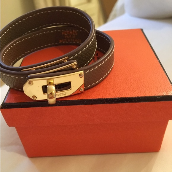 Hermes Jewelry   Kelly Double Tour Bracelet Taupe   Poshmark fd13c5908db