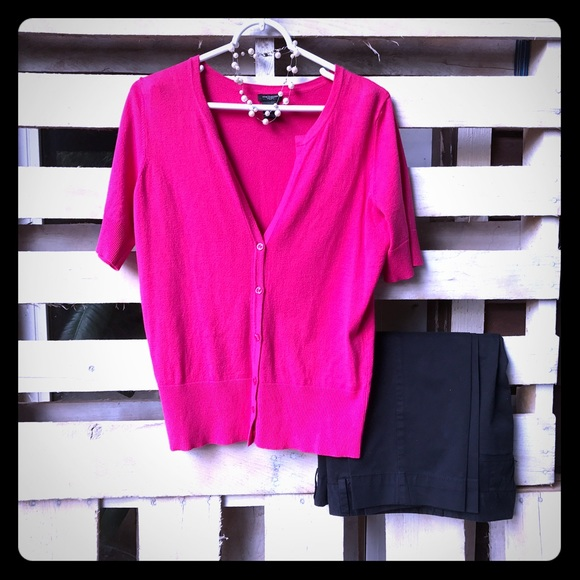 57% off Ann Taylor Sweaters - Ann Taylor hot pink short sleeve ...