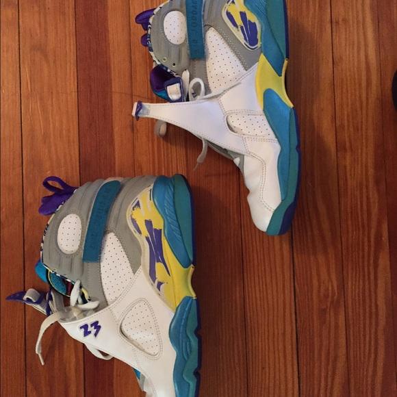 Womens Retro Jordan 8 White Aqua Purple