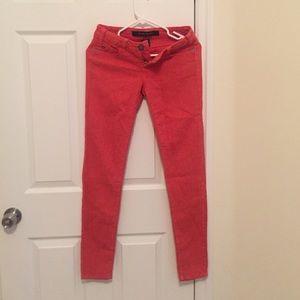 Denim - Orange red skinny jeans