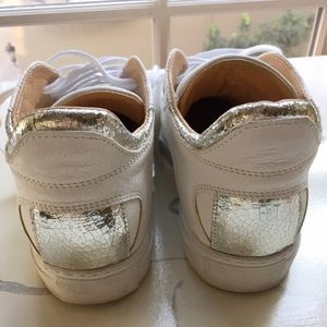 Maison Margiela Shoes - Maison Margiela White Sneakers with Metallic Foil
