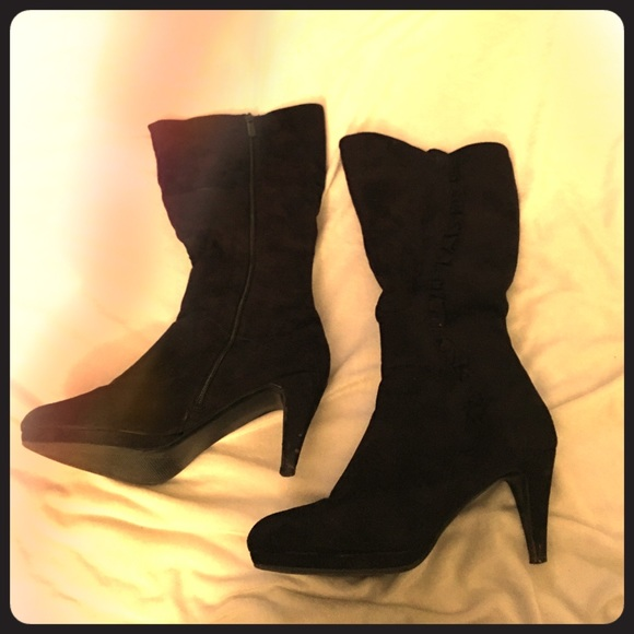 Impo Flex Shoes Mid Calf Heeled Black Dress Boots Poshmark