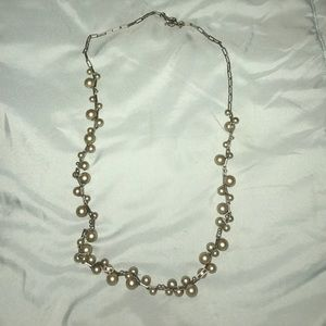JCrew grey pearl cluster necklace