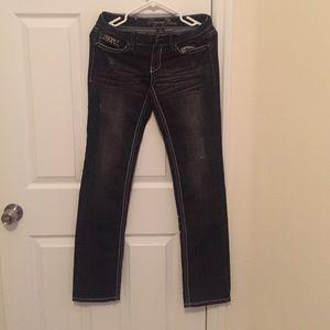 Denim - Dark washed boot cut jeans with rhinestones