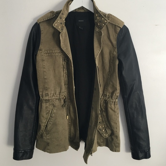 Forever 21 Jackets & Blazers - Olive Studded & Faux Leather Military Jacket