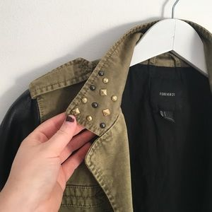 Forever 21 Jackets & Coats - Olive Studded & Faux Leather Military Jacket
