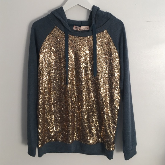 Sweaters - Gold Sequin Front Navy Sweater