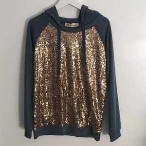 Gold Sequin Front Navy Sweater