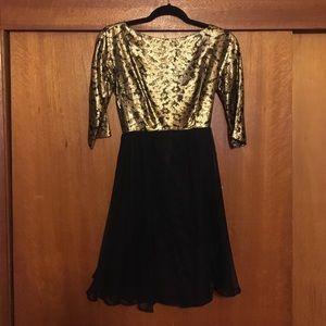 Vintage Gold and Chiffon Cocktail Gown Dress