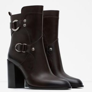  NWT ZARA Brown Leather Buckle Boots