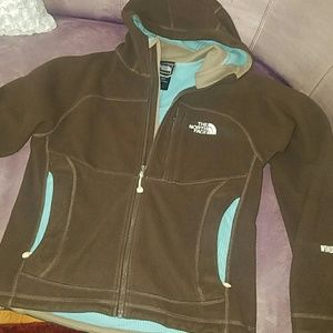 Brown North Face jacket with hood size xsmall
