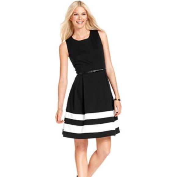 1df11fe5d618 Calvin Klein Dresses & Skirts - Calvin Klein Fit & Flare Dress Black/White  Stripe