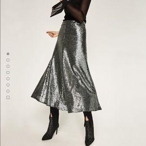 Zara sequinned midi skirt