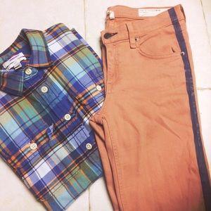 Rag & Bone Salmon Tuxedo Skinny Jeans