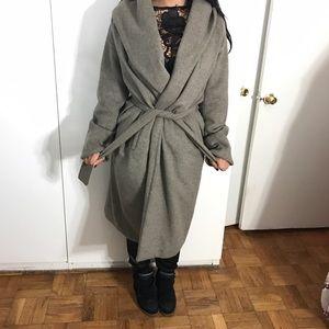 Zara grey wool coat in L