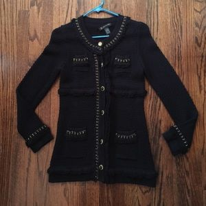 INC black Chanel-inspired sweater jacket small