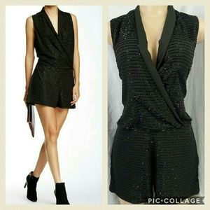 W118 by Walter Baker Pants - Liquid beaded black formal romper