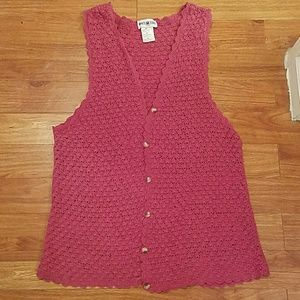 White Stag Jackets & Blazers - White Stag Pink Crocheted Vest