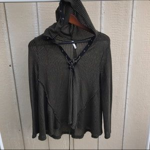 Sage Sweaters - SAGE SZ SMALL KNIT HOODED LACE HOODIE SWEATER