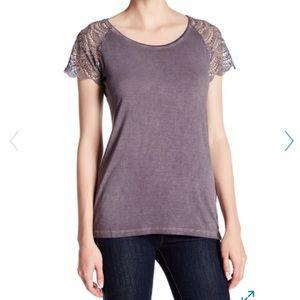 Dantelle Tops - Women's Dantelle Oil Dye Lace Sleeve Tee Size M