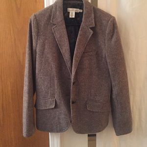 Tweed blazer with suede elbow padding