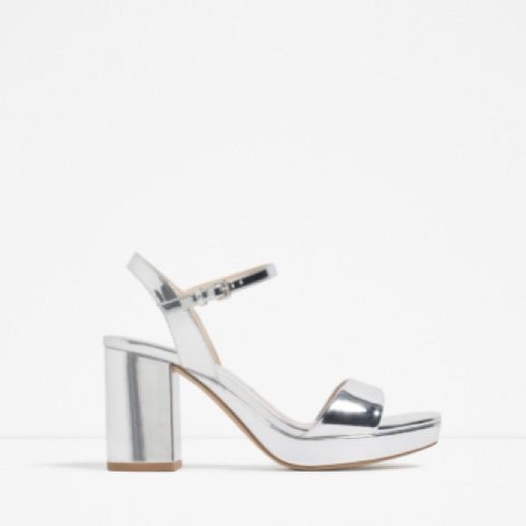 d6950f86df26 NEW Zara Metallic Silver Platform Sandals Heels