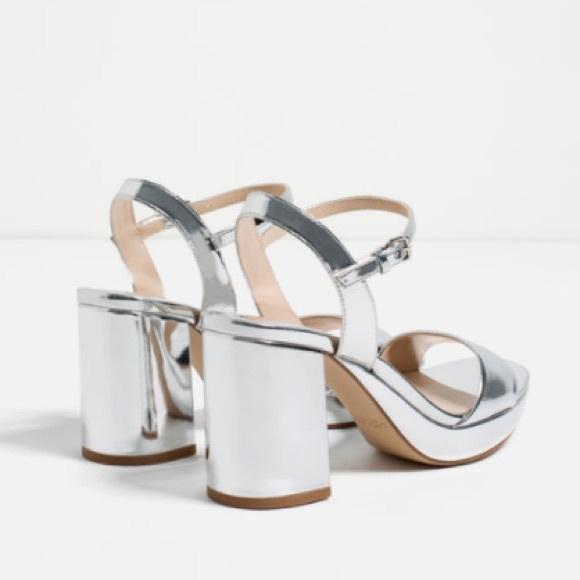 91c8bd985535 25% off Zara Shoes - NEW Zara Metallic Silver Platform Sandals .