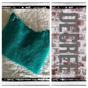 Decree Sweaters - Decree teal fuzzy cropped sweater