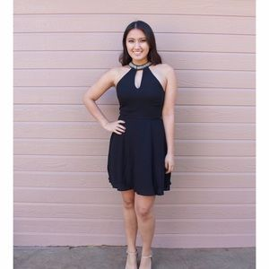 Boutique Dresses & Skirts - Black Beaded collar openfront formal dress