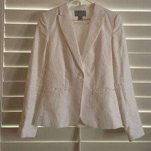 H&M white cotton linen blazer