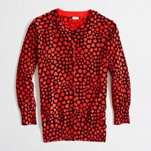 J. Crew Factory Sweaters - NWT J.Crew Factory XS Heart Cardigan Sweater Red