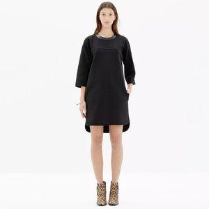 Madewell Dresses & Skirts - Madewell Leather Trim Pique Ponte Dress Black
