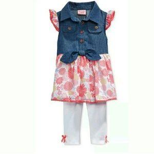 Nanette Baby Other - Baby Girl's Denim Tunic & Leggings Set