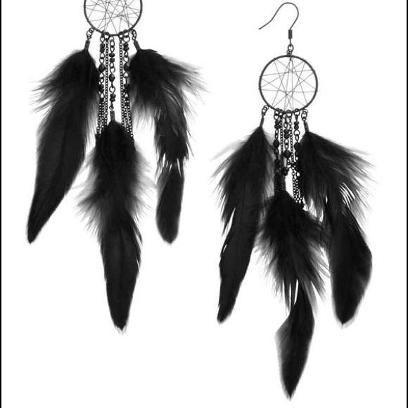 Dream Catcher Earring Holder HM Jewelry HM Black Feather Dreamcatcher Earrings Poshmark 40