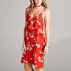 Dresses & Skirts - NWT || Red Floral Strappy Tank Midi Dress