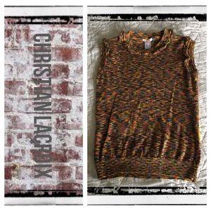 Christian Lacroix Tops - Christian LaCroix pixel rainbow knit top